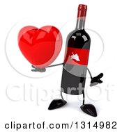 Clipart Of A 3d Wine Bottle Mascot Shrugging And Holding A Heart Royalty Free Illustration