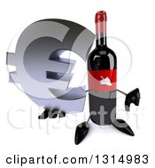Clipart Of A 3d Wine Bottle Mascot Holding Up A Euro Symbol And Thumb Down Royalty Free Illustration