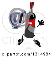 Clipart Of A 3d Wine Bottle Mascot Jumping And Holding An Email Arobase At Symbol Royalty Free Illustration