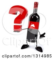 Clipart Of A 3d Wine Bottle Mascot Shrugging And Holding A Question Mark Royalty Free Illustration