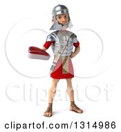 Clipart Of A 3d Young Male Roman Legionary Soldier Holding A Beef Steak Royalty Free Illustration