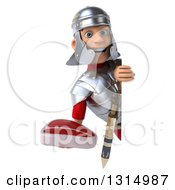 Clipart Of A 3d Young Male Roman Legionary Soldier Holding A Beef Steak Around A Sign Royalty Free Illustration