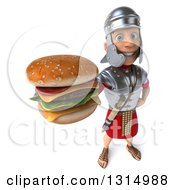 Clipart Of A 3d Young Male Roman Legionary Soldier Holding Up A Double Cheeseburger Royalty Free Illustration