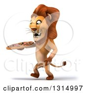 Clipart Of A 3d Male Lion Walking To The Left And Holding A Pizza Royalty Free Illustration