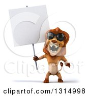 Clipart Of A 3d Male Lion Wearing Sunglasses Roaring And Holding A Blank Sign Royalty Free Illustration