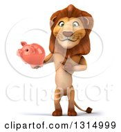 Clipart Of A 3d Male Lion Holding And Pointing To A Piggy Bank Royalty Free Illustration