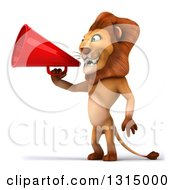 Clipart Of A 3d Male Lion Facing Left And Using A Megaphone Royalty Free Illustration