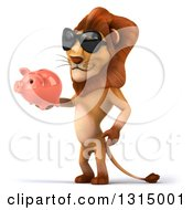 Clipart Of A 3d Male Lion Wearing Sunglasses Facing Left And Holding A Piggy Bank Royalty Free Illustration