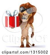 Clipart Of A 3d Male Lion Wearing Sunglasses And Holding A Gift Royalty Free Illustration