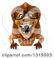 Clipart Of A 3d Bespectacled Male Lion Roaring Over A Sign Royalty Free Illustration