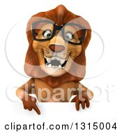 Clipart Of A 3d Bespectacled Male Lion Pointing Down Over A Sign Royalty Free Illustration