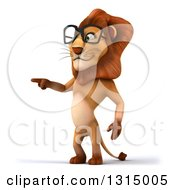 Clipart Of A 3d Bespectacled Male Lion Pointing To The Left Royalty Free Illustration
