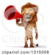 Clipart Of A 3d Male Lion Using A Megaphone Royalty Free Illustration
