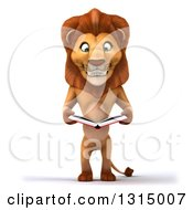 Clipart Of A 3d Male Lion Standing And Reading A Book Royalty Free Illustration