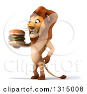 Clipart Of A 3d Male Lion Facing Left And Holding A Double Cheeseburger Royalty Free Illustration