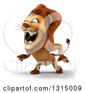 Clipart Of A 3d Male Lion Roaring Slightly To The Left Royalty Free Illustration