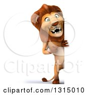 Clipart Of A 3d Full Length Male Lion Pointing Around A Sign Royalty Free Illustration