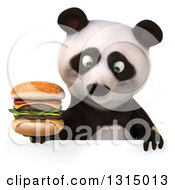 Clipart Of A 3d Panda Holding A Double Cheeseburger And Looking Down Over A Sign Royalty Free Illustration