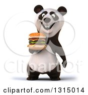 Clipart Of A 3d Panda Holding A Double Cheeseburger Royalty Free Illustration