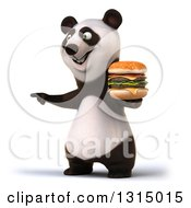 Clipart Of A 3d Panda Holding A Double Cheeseburger And Pointing To The Left Royalty Free Illustration
