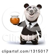 Clipart Of A 3d Happy Business Panda Holding A Honey Jar Royalty Free Illustration