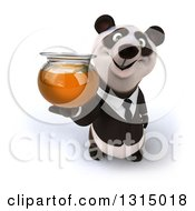 Clipart Of A 3d Happy Business Panda Holding Up A Honey Jar Royalty Free Illustration
