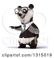 Clipart Of A 3d Bespectacled Happy Business Panda Pointing Royalty Free Illustration