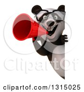 Clipart Of A 3d Bespectacled Panda Announcing With A Megaphone Around A Sign Royalty Free Illustration