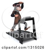 Clipart Of A 3d Chimpanzee Monkey Scratching His Head And Running On A Treadmill 3 Royalty Free Illustration