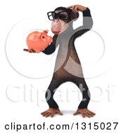 Clipart Of A 3d Bespectacled Chimpanzee Standing Thinking And Holding A Piggy Bank Royalty Free Illustration