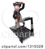 Clipart Of A 3d Chimpanzee Monkey Scratching His Head And Running On A Treadmill 2 Royalty Free Illustration