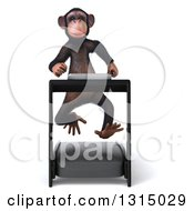 Clipart Of A 3d Chimpanzee Monkey Running On A Treadmill Royalty Free Illustration