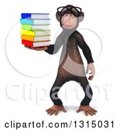 Clipart Of A 3d Bespectacled Chimpanzee Holding A Stack Of Books Royalty Free Illustration