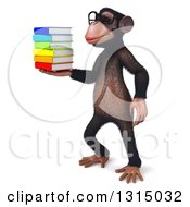 Clipart Of A 3d Bespectacled Chimpanzee Facing Left And Holding A Stack Of Books Royalty Free Illustration