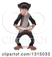 Clipart Of A 3d Bespectacled Chimpanzee Reading A Book Royalty Free Illustration