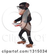 Clipart Of A 3d Bespectacled Chimpanzee Facing Left And Reading A Book Royalty Free Illustration