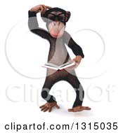 Clipart Of A 3d Bespectacled Chimpanzee Thinking And Reading A Book Royalty Free Illustration