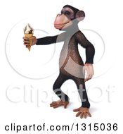 Clipart Of A 3d Chimpanzee Monkey Facing Left And Holding Out A Waffle Ice Cream Cone Royalty Free Illustration