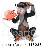 Clipart Of A 3d Bespectacled Chimpanzee Sitting Thinking And Holding A Piggy Bank Royalty Free Illustration