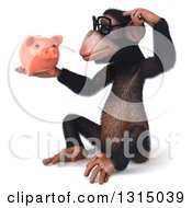 Clipart Of A 3d Bespectacled Chimpanzee Sitting Thinking And Holding A Piggy Bank 2 Royalty Free Illustration