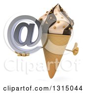Clipart Of A 3d Chocolate And Vanilla Swirl Waffle Ice Cream Cone Character Holding A Thumb Up And An Email Arobase At Symbol Royalty Free Illustration