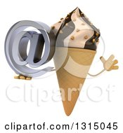 Clipart Of A 3d Chocolate And Vanilla Swirl Waffle Ice Cream Cone Character Jumping And Holding An Email Arobase At Symbol Royalty Free Illustration