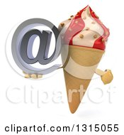 Clipart Of A 3d Strawberry And Vanilla Swirl Waffle Ice Cream Cone Character Holding And Pointing To An Email Arobase At Symbol Royalty Free Illustration