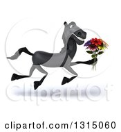 Clipart Of A 3d Black Horse Running To The Right And Holding A Flower Bouquet Royalty Free Illustration