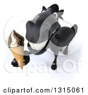 Clipart Of A 3d Black Horse Holding Up A Waffle Ice Cream Cone Royalty Free Illustration
