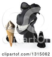 Clipart Of A 3d Black Horse Wearing Sunglasses And Holding A Waffle Ice Cream Cone Over A Sign Royalty Free Illustration