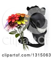 Clipart Of A 3d Black Horse Wearing Sunglasses And Holding A Flower Bouquet Around A Sign Royalty Free Illustration