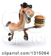 Clipart Of A 3d Brown Horse Wearing Sunglasses And Running With A Double Cheeseburger Royalty Free Illustration
