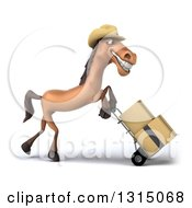 Clipart Of A 3d Brown Cowboy Horse Facing Right And Moving Boxes On A Dolly Royalty Free Illustration by Julos