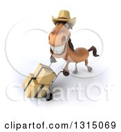 Clipart Of A 3d Brown Cowboy Horse Looking Up And Moving Boxes On A Dolly Royalty Free Illustration by Julos